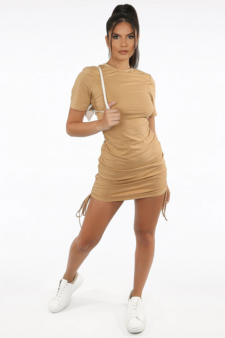 Beige Short Sleeves Slinky Mini Dress - Harley