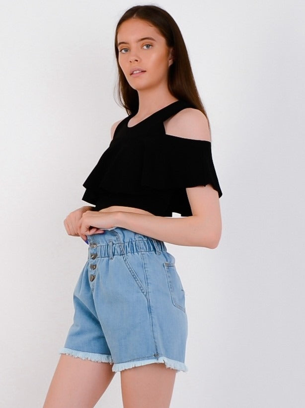 Black Cold Shoulder Frill Top - Kailani - storm desire