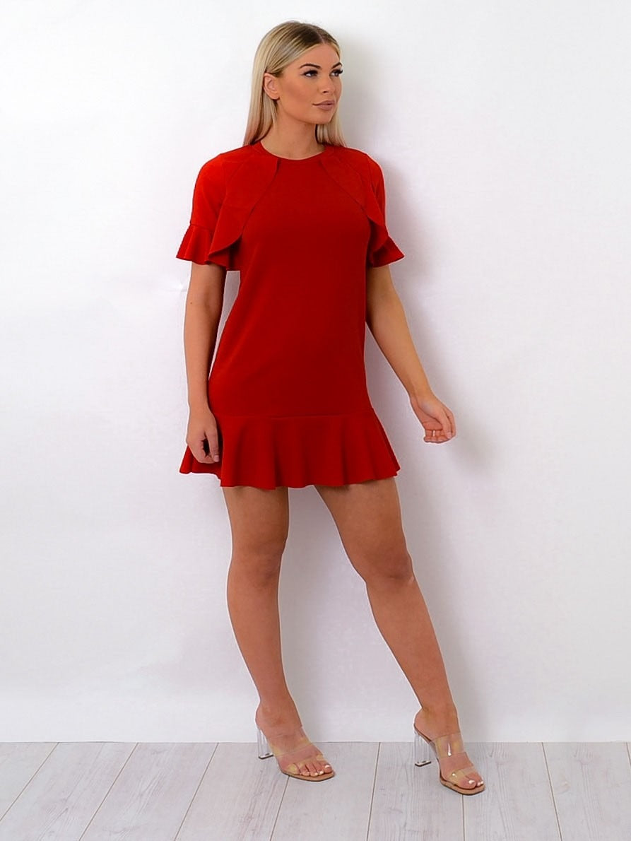 Red Frill Detail Peplum Dress - Daphne
