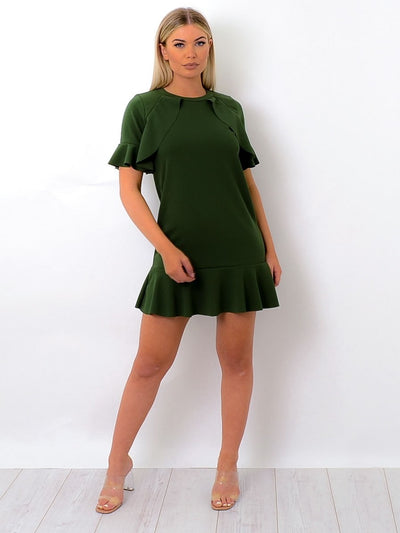 Khaki Green Frill Detail Peplum Dress - Daphne