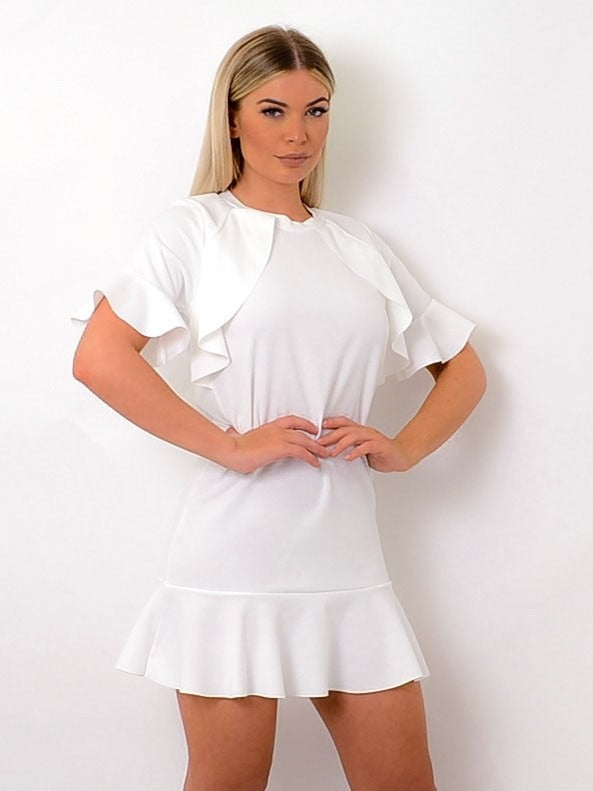 Cream Frill Detail Peplum Dress - Daphne