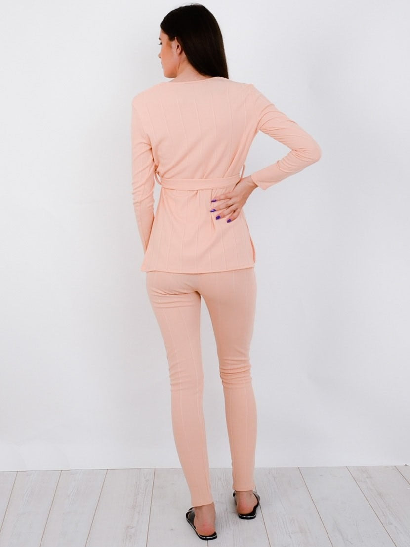 Nude Ribbed Side Split Top & Trouser Co-ord Set - Allie