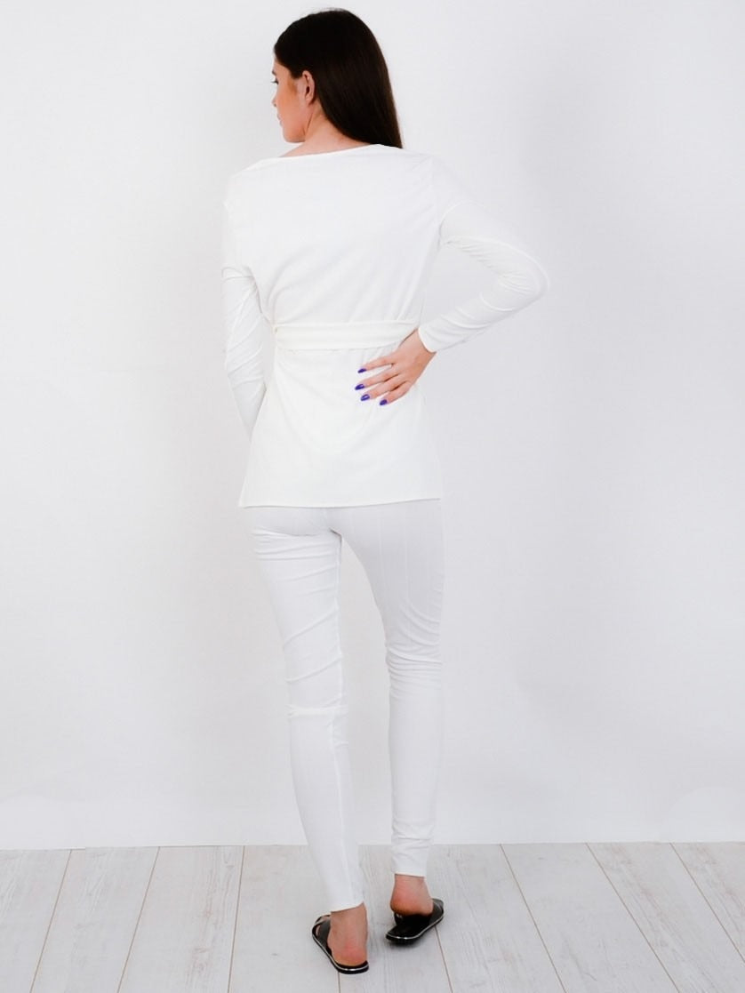 White Ribbed Side Split Top & Trouser Co-ord Set - Allie
