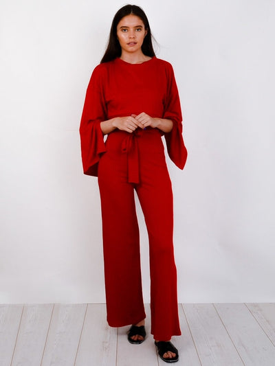 Deep Red Split Sleeve Ribbed Crop Top & Trouser Co-ord - Isabel