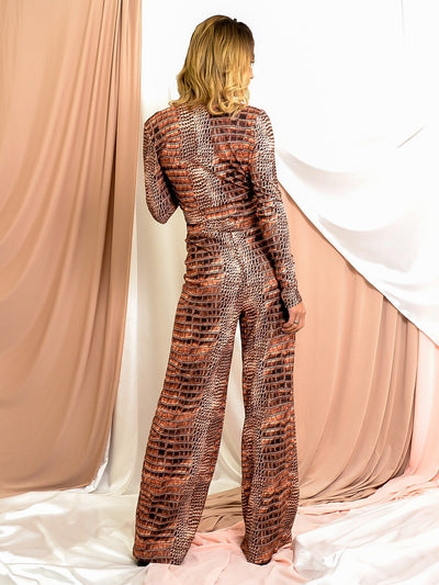 Rust Croc Print Crop Top & Trouser Co-ord - Rosalie
