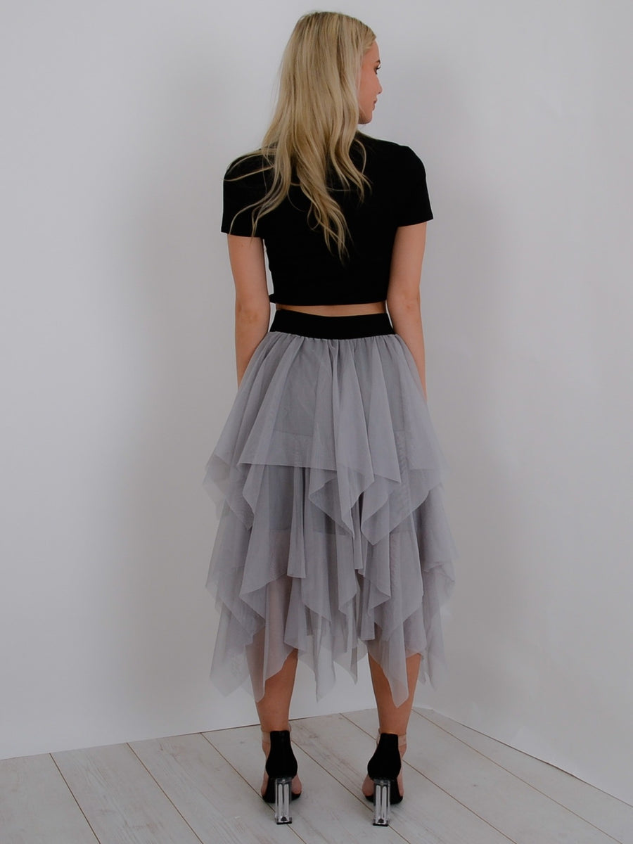 Grey Layered Tulle Mesh Midi Skirt - Olive