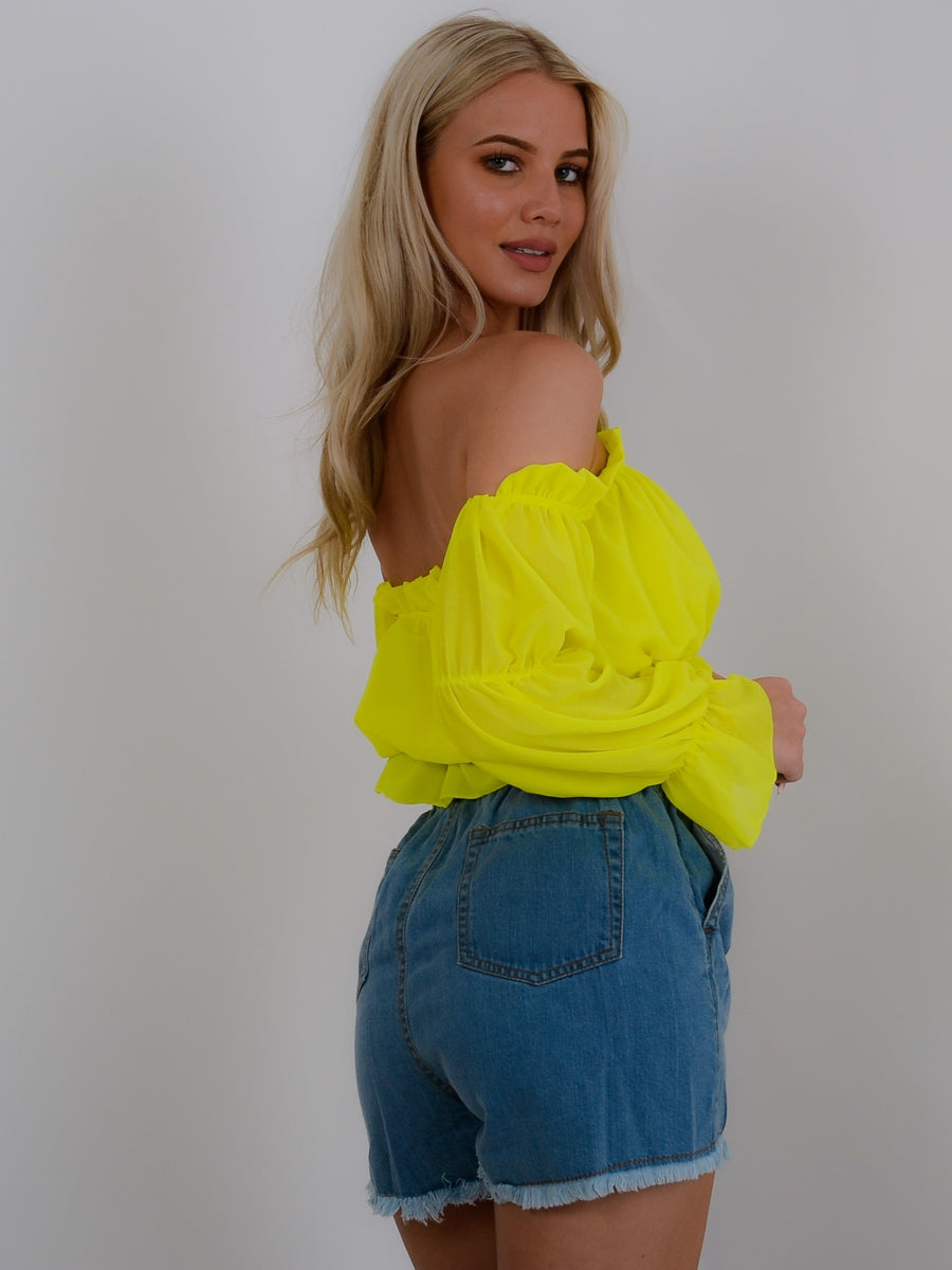 Yellow Bardot Crop Top - Alina