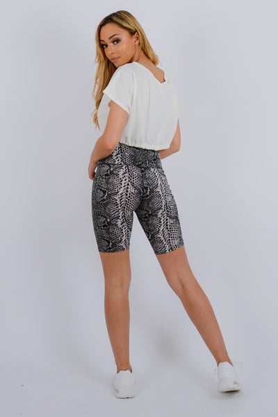Grey Snake Print Cycling Shorts - Vanessa