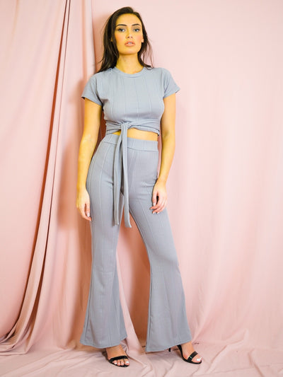 Grey Ribbed Tie Knot Crop Top & Trouser Co-ord - Brooke