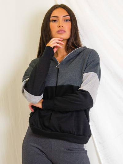 Grey Colour Block Hoodie & Trouser Co-ord Set - Nyla