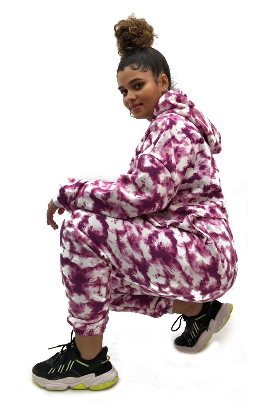 Pink Tie Dye Hooded Jersey Loungwear Suit - Nova