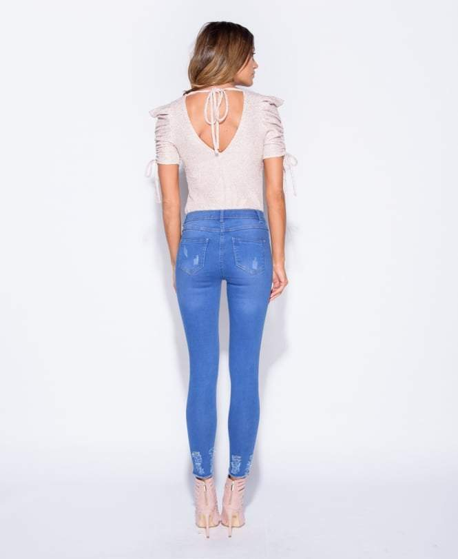 Aria Distressed Shredded hem Denim Blue Stretch Jeans - storm desire