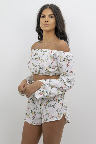 Off White Floral Shorts & Crop Top Co-ord Set - Clara