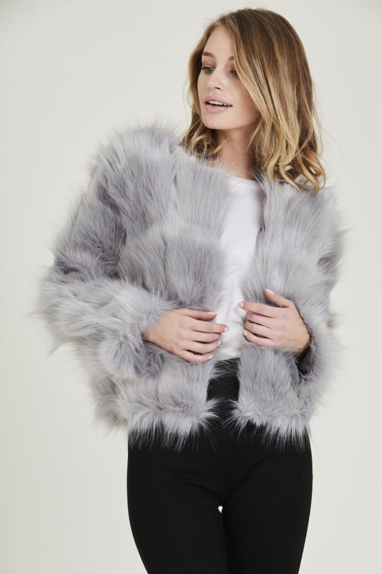 Lyla Shaggy Fluffy Faux Fur Jacket - Grey - Storm Desire