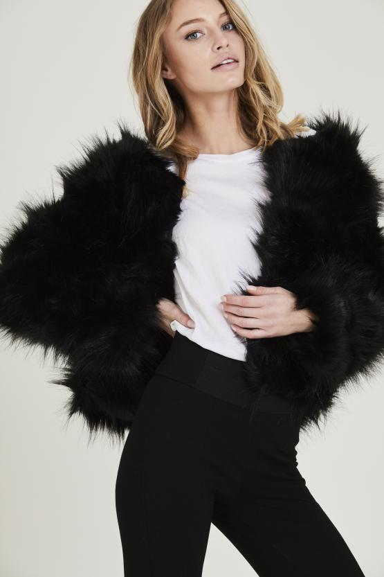 Black Shaggy Fluffy Faux Fur Jacket - Lyla