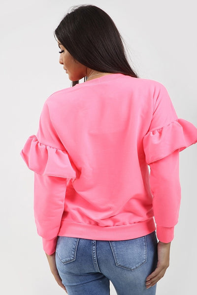 Back In Stock Neon Pink Frill Sleeve Sweatshirt Jumper - Abby