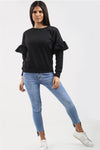 Back in Stock Black Frill Sleeve Sweatshirt Jumper - Abby