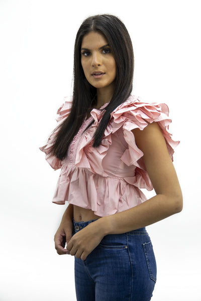 Pink Layered Frill Crop Top - Lily