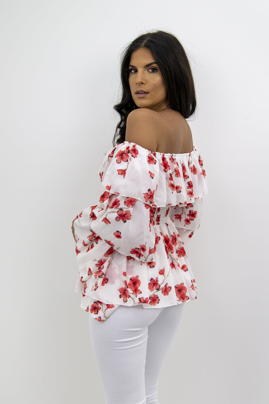 White Red Floral Print Bardot Frill Top - Athena