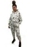 Grey Tie Dye Hooded Jersey Loungwear Suit - Nova