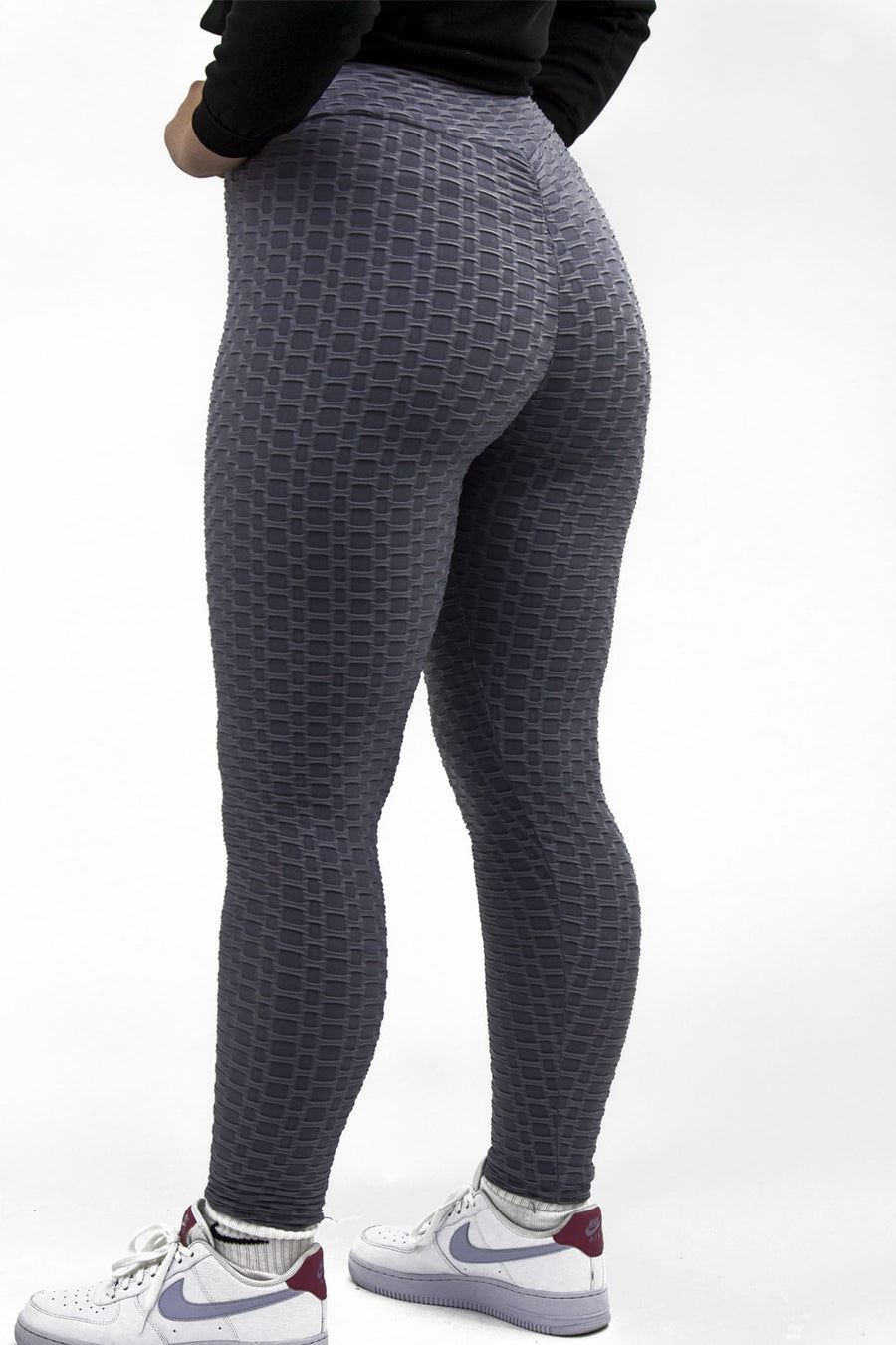 Grey Ruched Textured Active leggings - Daniella