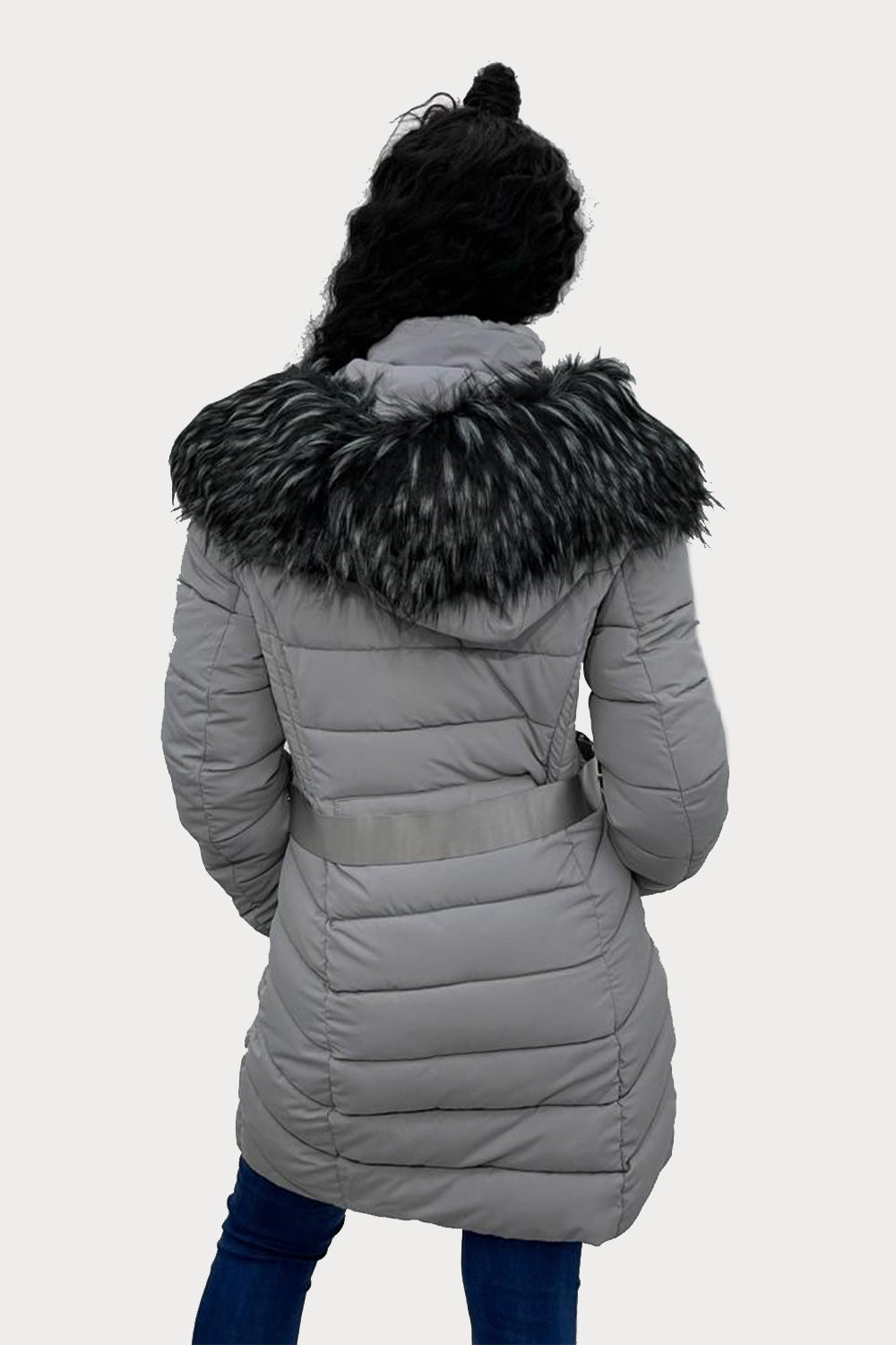 Grey Faux Fur Hooded Long Puffer Jacket - Genesis