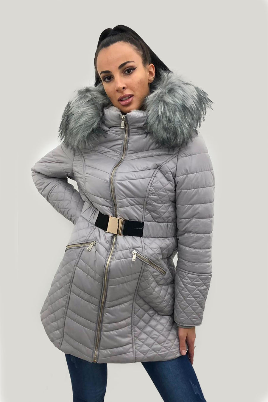Grey Shiny Faux Fur Hooded Long Puffer Jacket - Annalise