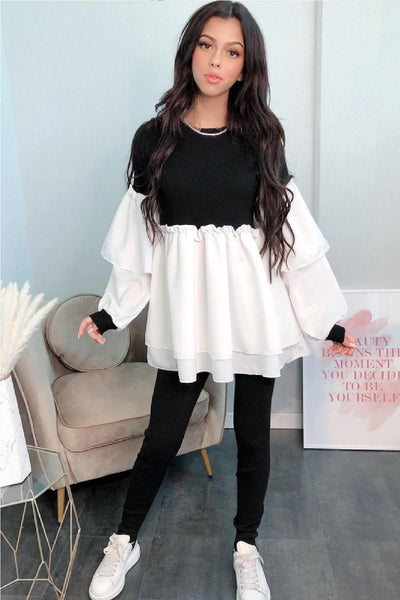 Black Ruffle Sleeved Layered Co-Ord Loungewear Set - Gwen