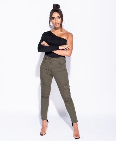 Army green High Waist Cargo Jeans - Cecilia - storm desire