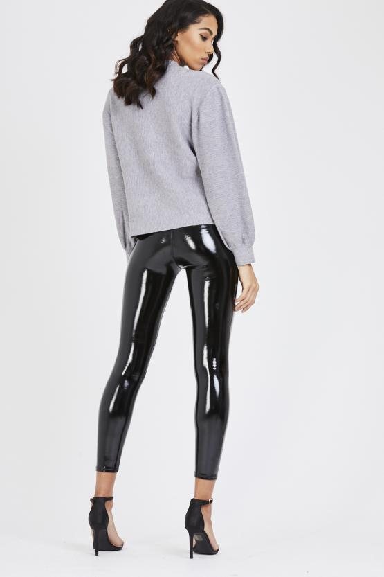 Black Shiny Pu Vinyl Elasticated Leggings - Celeste