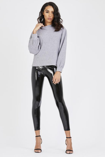 Black Shiny Pu Vinyl Elasticated Leggings - Luna - storm desire