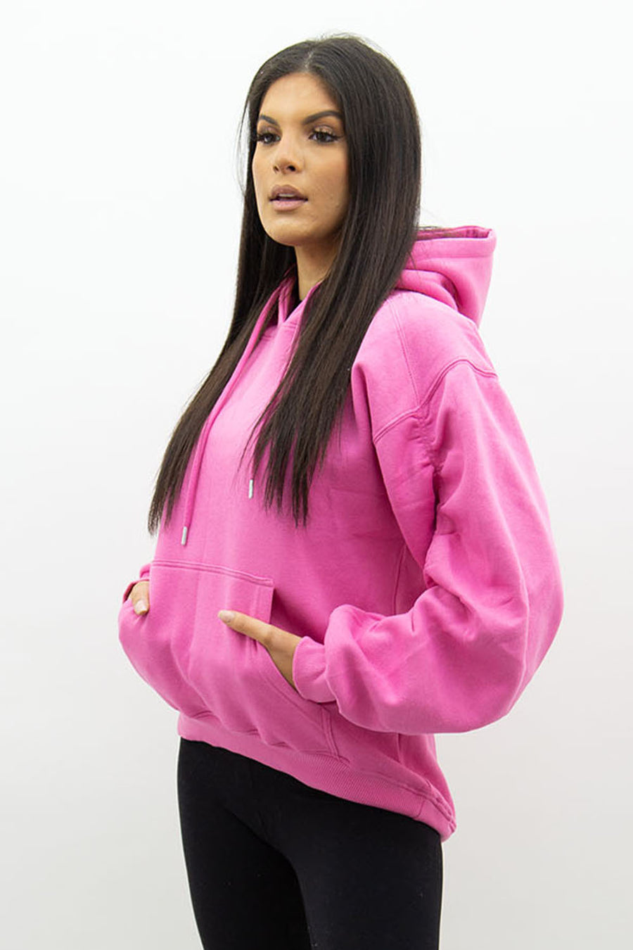 Fuchsia Pink Ruched Sleeve Hooded Sweatshirt - Kora