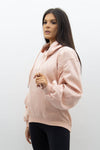Blush Pink Ruched Sleeve Hooded Sweatshirt - Kora