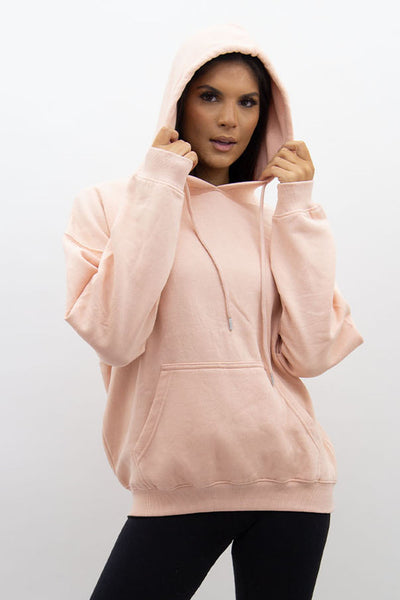 Blush Pink Jersey Casual Lounge Hoodie - Kelly