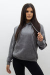 Charcoal Grey Jersey Casual Lounge Hoodie - Kelly