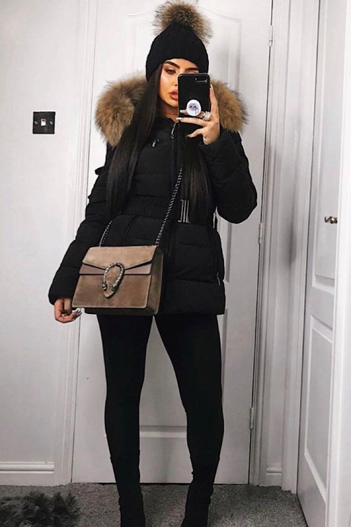 Aria Black Fur Hood Belt Puffer Zip Jacket