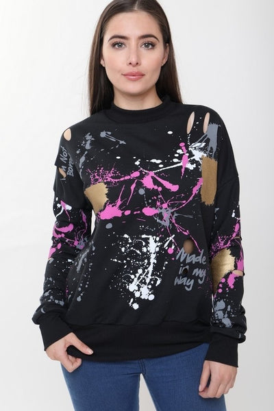 Gemma Paint Splash Black Jumper - storm desire