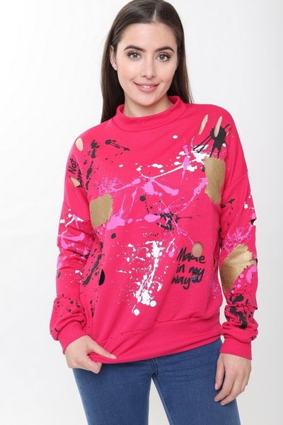 Gemma Paint Splash Pink Jumper - storm desire