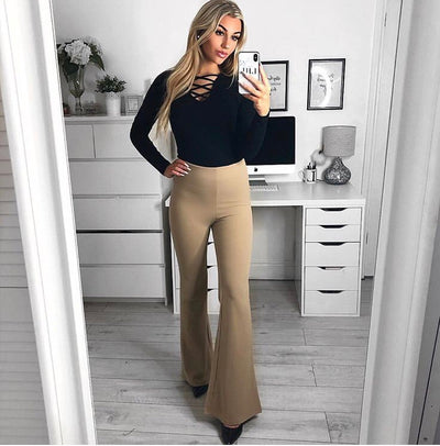 Beige High Waisted Crepe Flare Trousers - Everly - storm desire