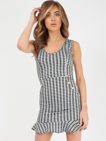 Black White Button Front Frill Hem Check Dress - Rachel - storm desire