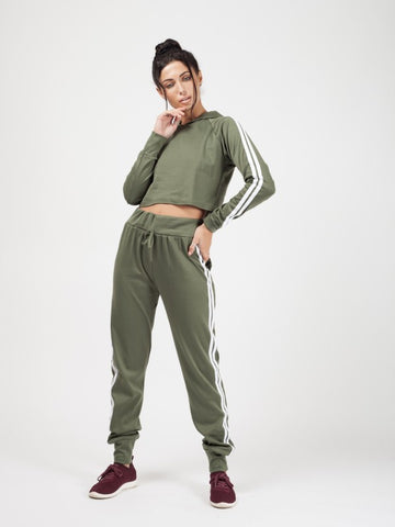 Fiona Side Stripe Cropped Loungewear Set - kakhi Green - Storm Desire