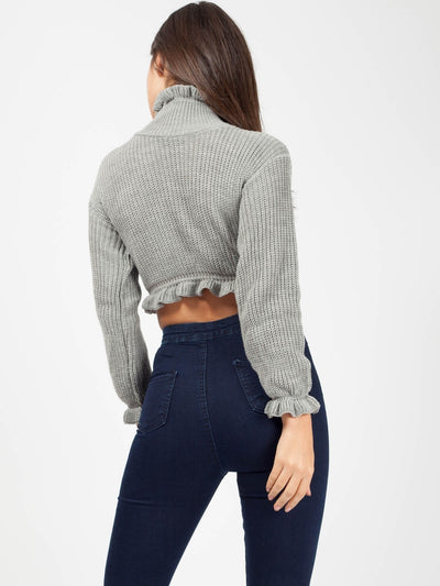 Grey Ribbed Pleated High Neck Cropped Jumper - Eve