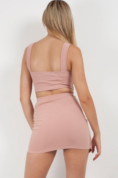 Dusky Pink Wrap Over Buckle Skirt & Top Co-ord - Myla