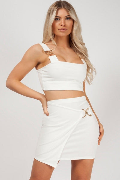 Off White Wrap Over Buckle Skirt & Top Co-ord - Myla