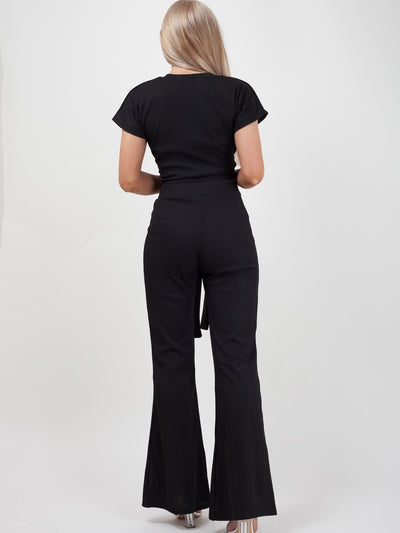 Black Ribbed Tie Knot Crop Top & Trouser Co-ord - Brooke - storm desire