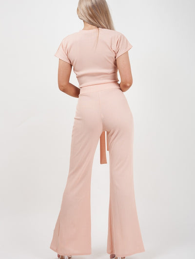 Nude Ribbed Tie Knot Crop Top & Trouser Co-ord - Brooke