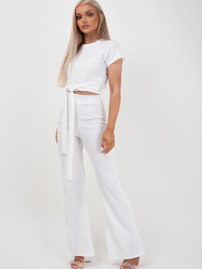 Cream Ribbed Tie Knot Crop Top & Trouser Co-ord - Brooke - storm desire