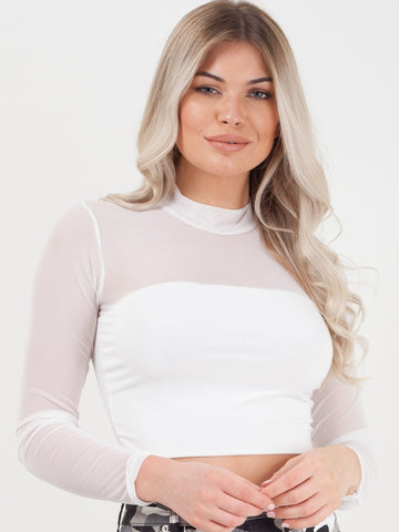 White Mesh Panel Crop Top - Esther