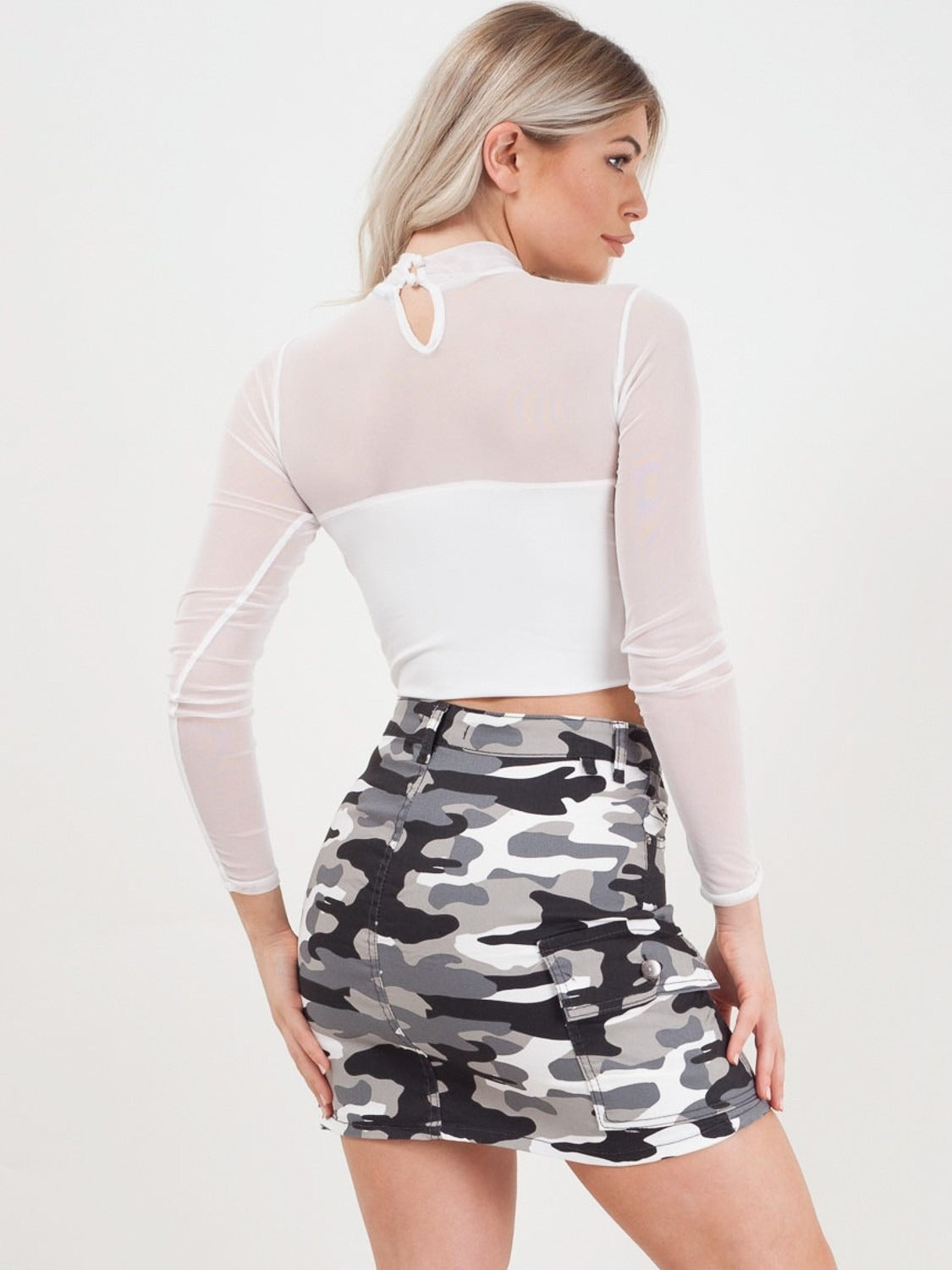 a4a55770754 White Mesh Panel Crop Top - @charvj - Storm Desire