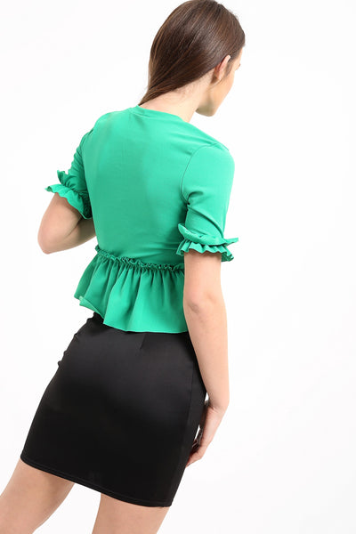 Emerald Green Ruched Frill Hem And Sleeves Top - Valentina